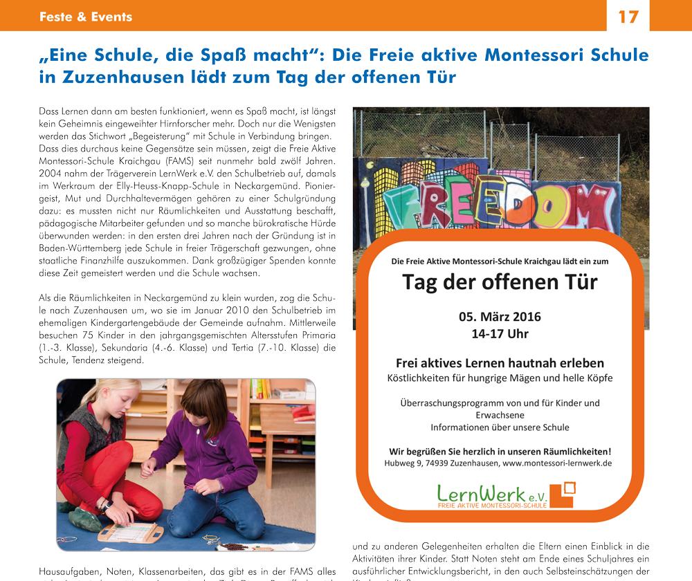 """Bericht im """"REGIOkult"""" 2016"""